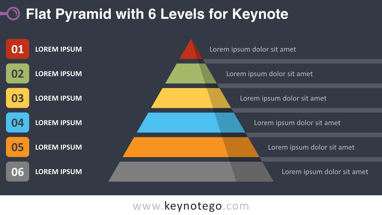 Flat Pyramid 6 Levels Keynote Template - Dark Background