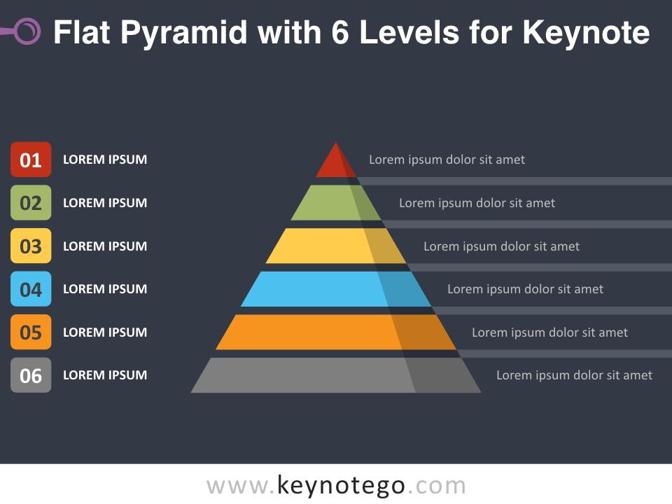 Flat Pyramid 6 Levels for Keynote - Dark Background
