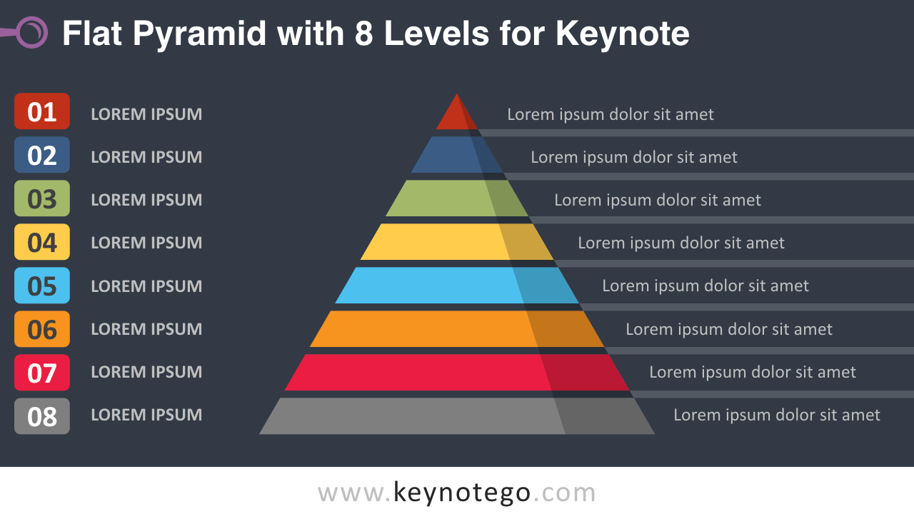 Flat Pyramid 8 Levels Keynote Template - Dark Background