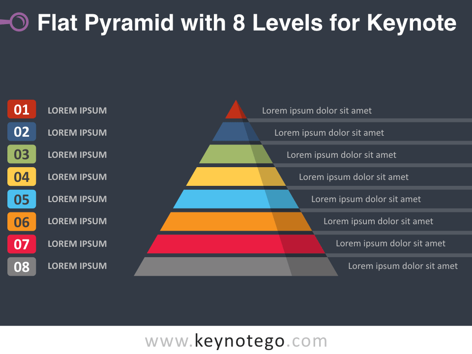 Flat Pyramid 8 Levels for Keynote - Dark Background