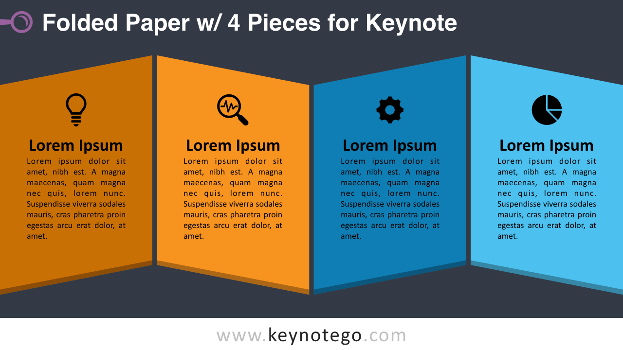 Folded Paper 4 Pieces Keynote Template - Dark Background
