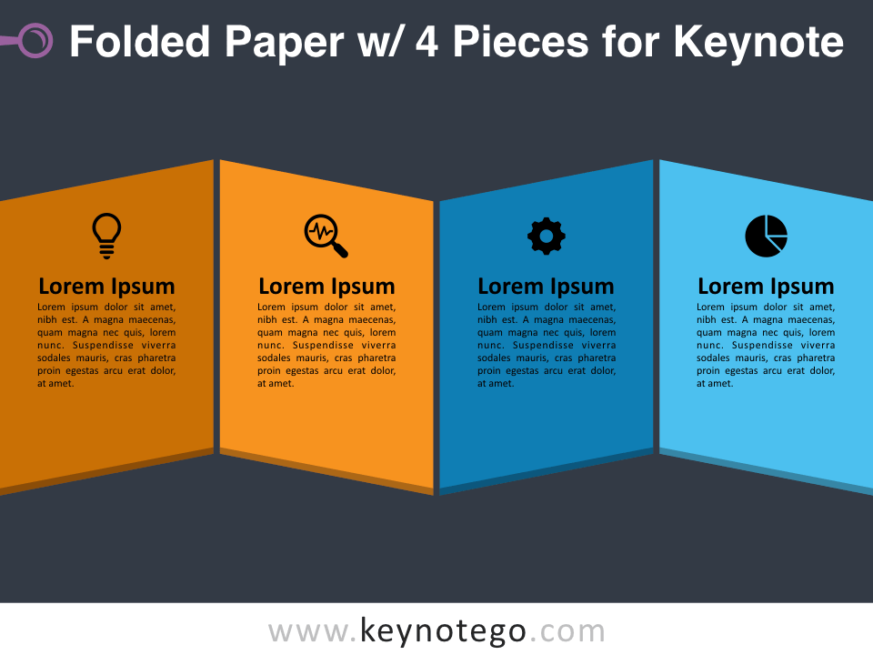 Folded Paper 4 Pieces for Keynote - Dark Background