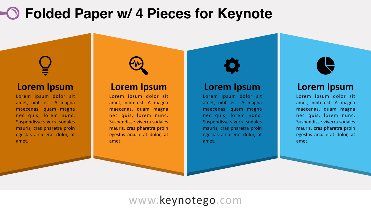 Folded Paper 4 Pieces Keynote Template