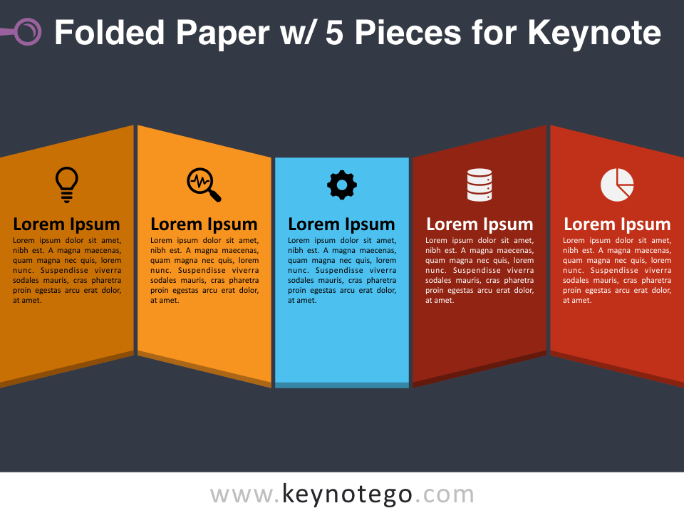 Folded Paper 5 Pieces for Keynote - Dark Background