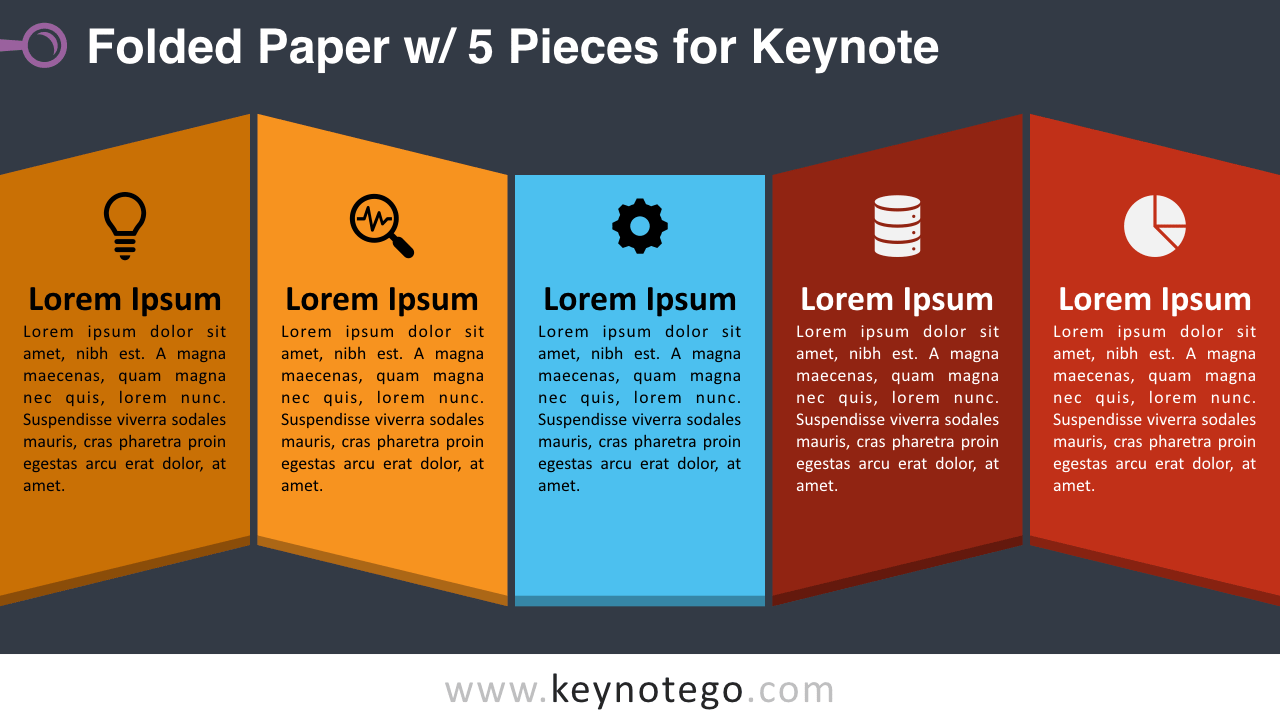 Folded Paper 5 Pieces Keynote Template - Dark Background
