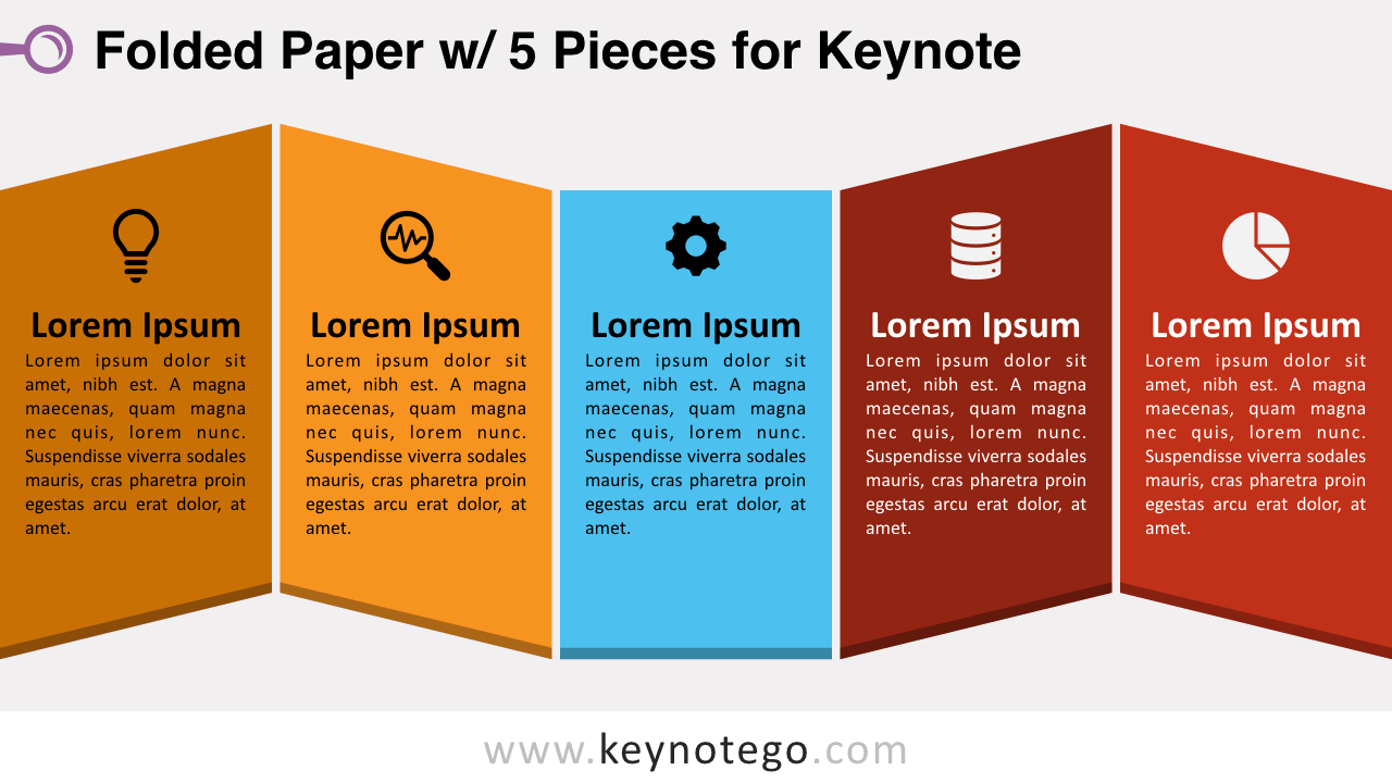 Folded Paper 5 Pieces Keynote Template