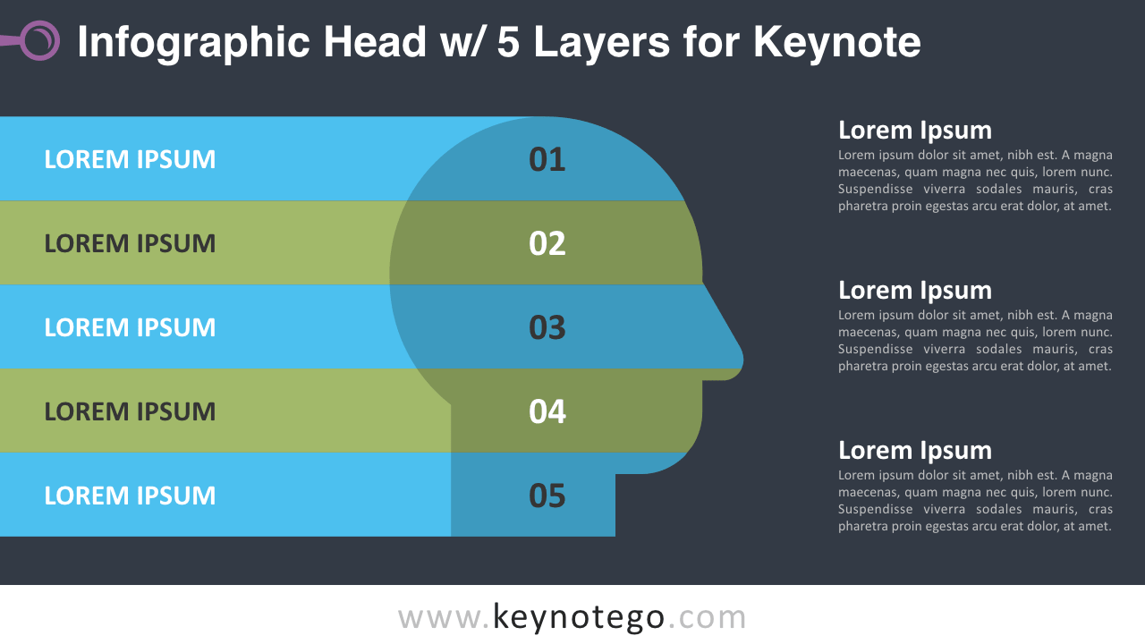 Head 5 Layers Keynote Template - Dark Background