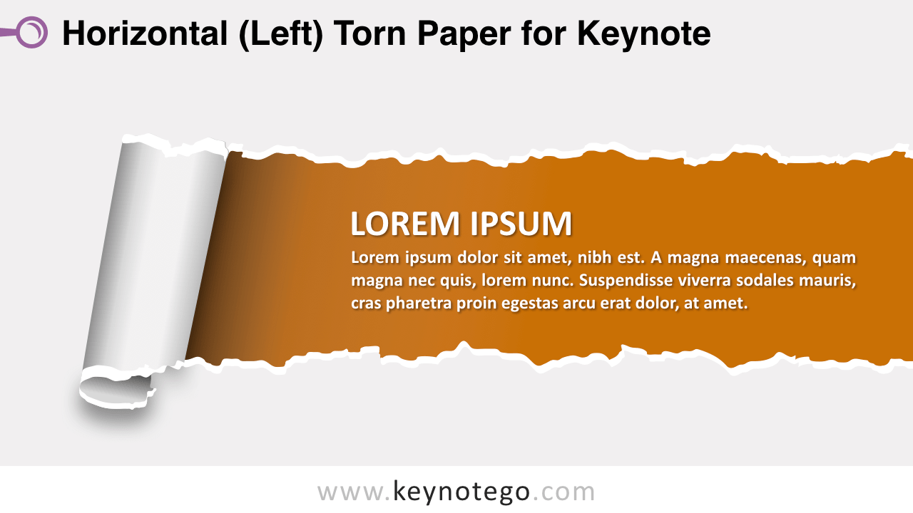 Horizontal Left Torn Paper Keynote Template