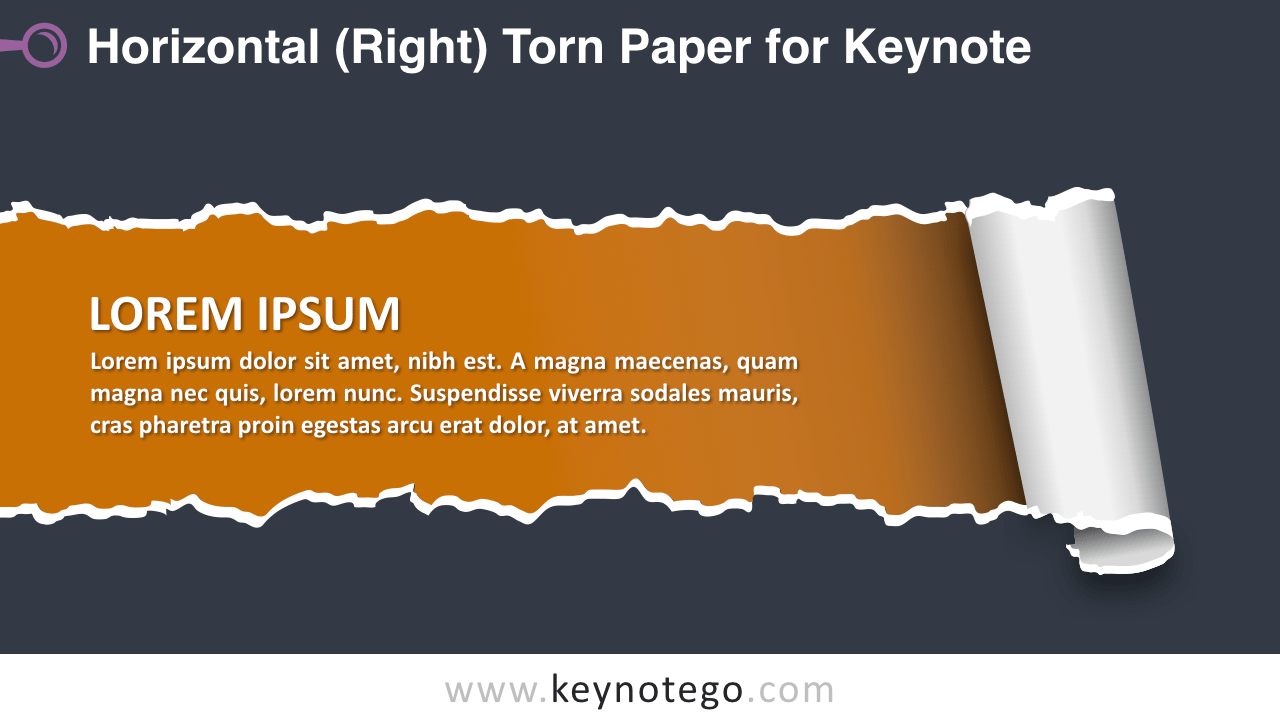 Horizontal Torn Paper Keynote Template - Dark Background