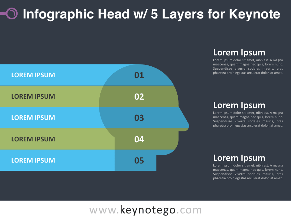 Infographic Head 5 Layers for Keynote - Dark Background