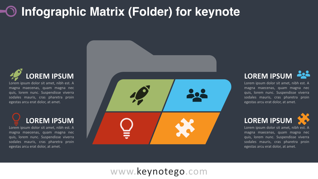 Infographic Matrix Folder Keynote Template - Dark Background