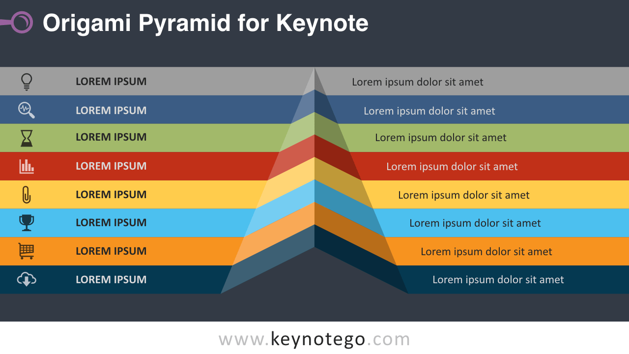 Origami Pyramid Keynote Template - Dark Background