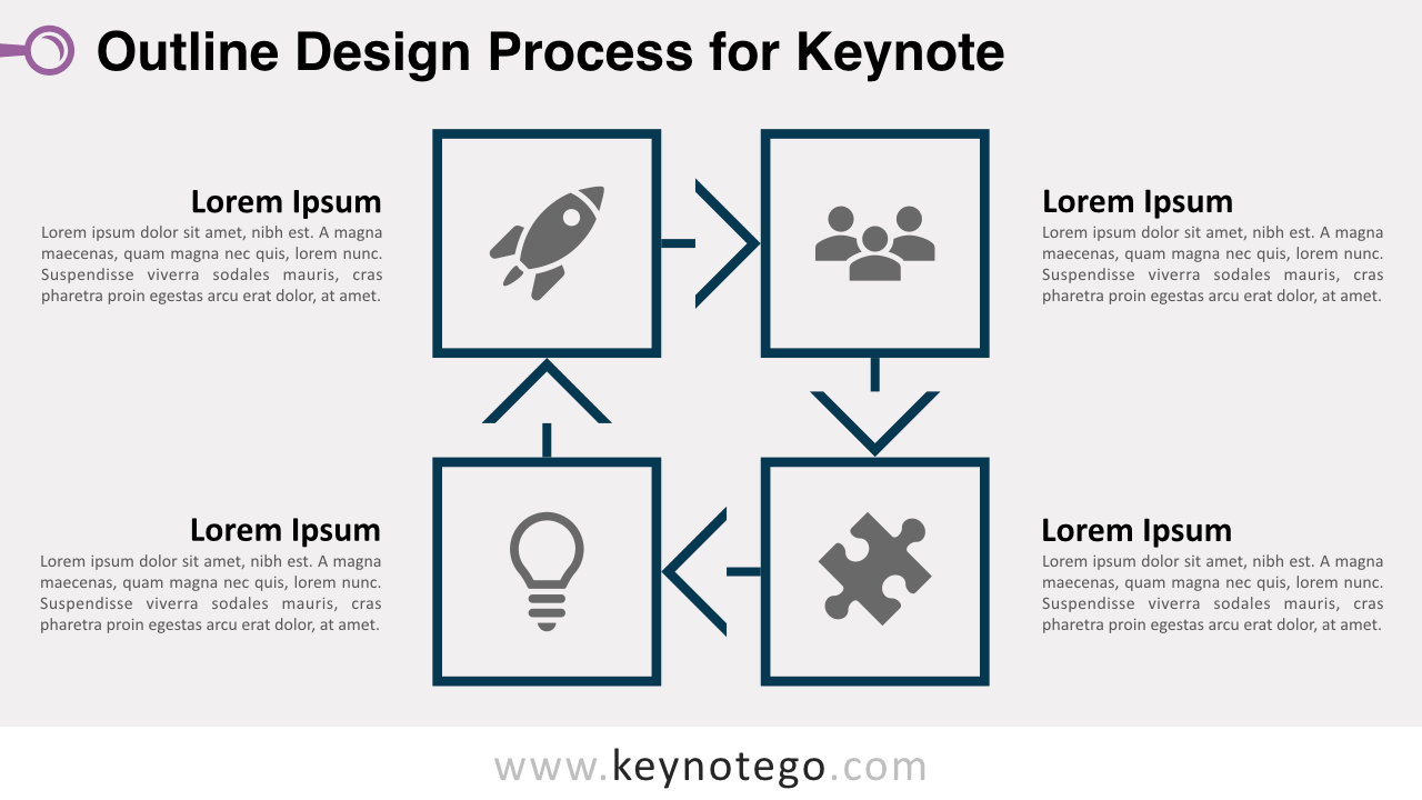 Outline Process Diagram 1 Color Keynote Template