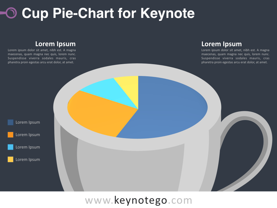 Pie Chart Cup for Keynote - Dark Background