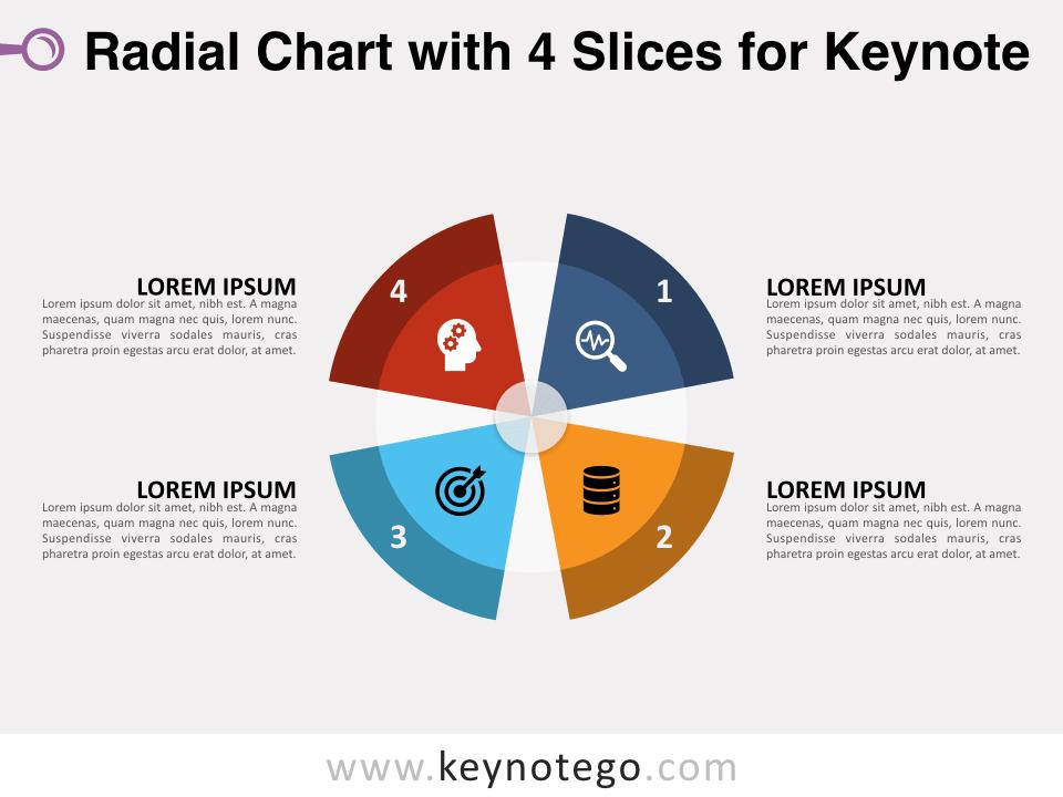 Radial Chart 4 Slices for Keynote