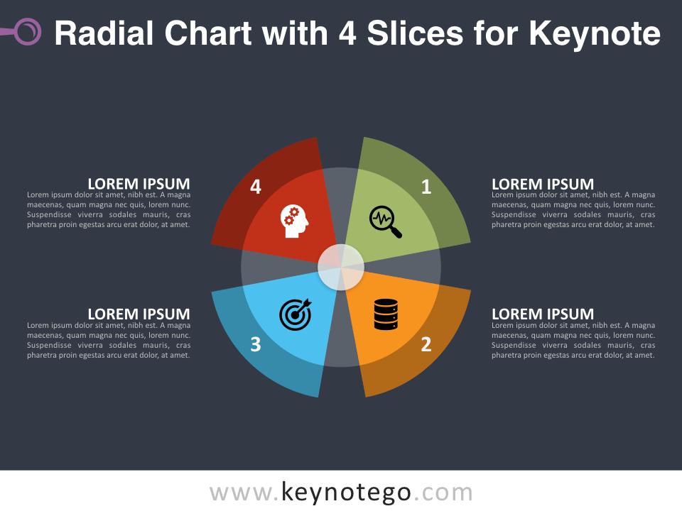 Radial Chart 4 Slices for Keynote - Dark Background