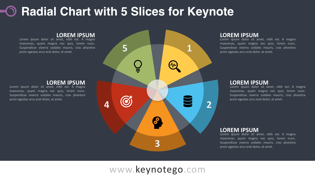 Radial Chart 5 Parts Keynote Template - Dark Background