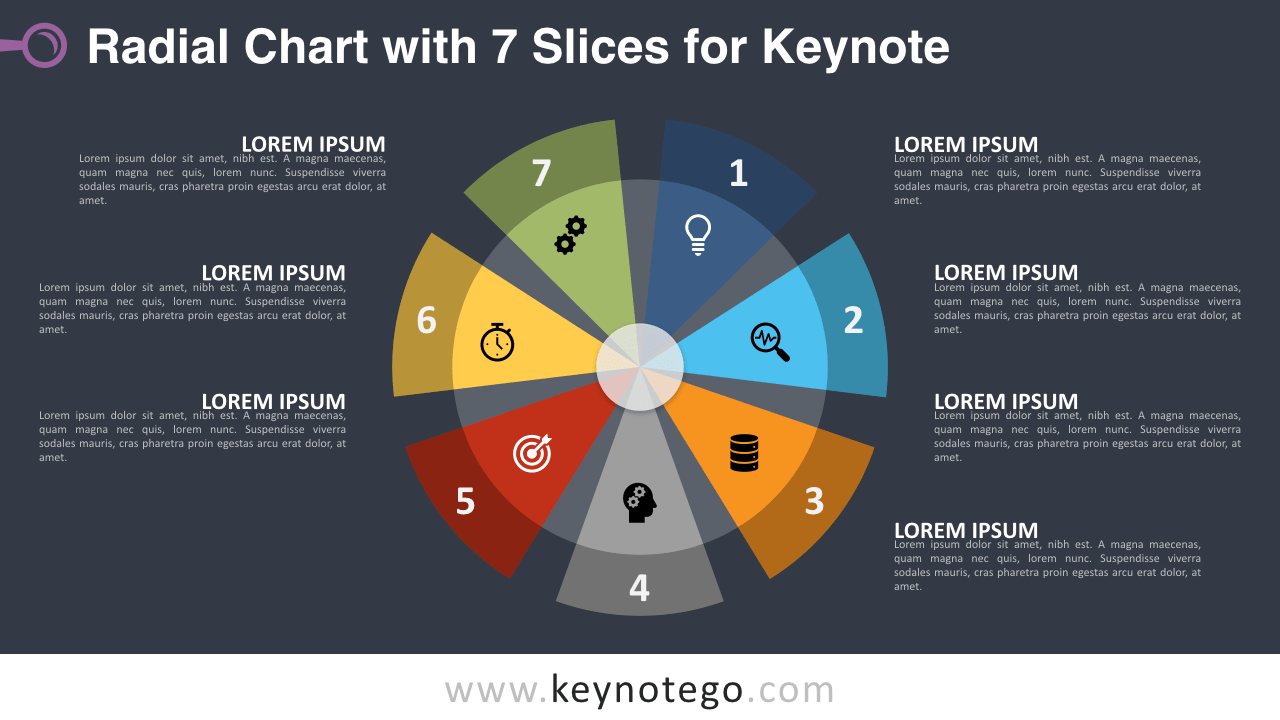 Radial Chart 7 Parts Keynote Template - Dark Background