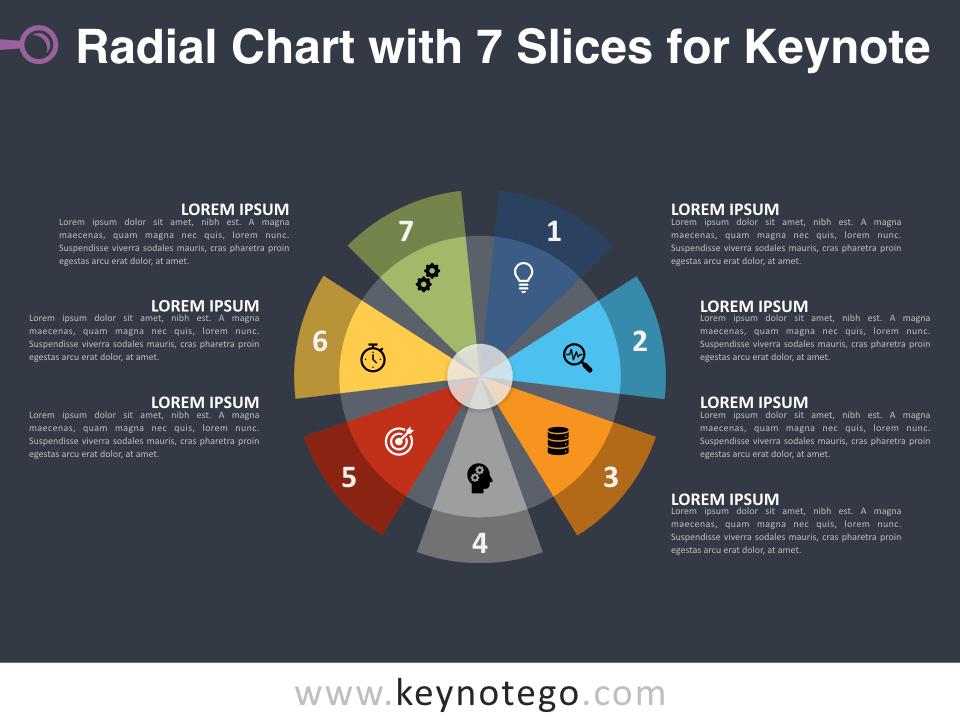 Radial Chart 7 Slices for Keynote - Dark Background