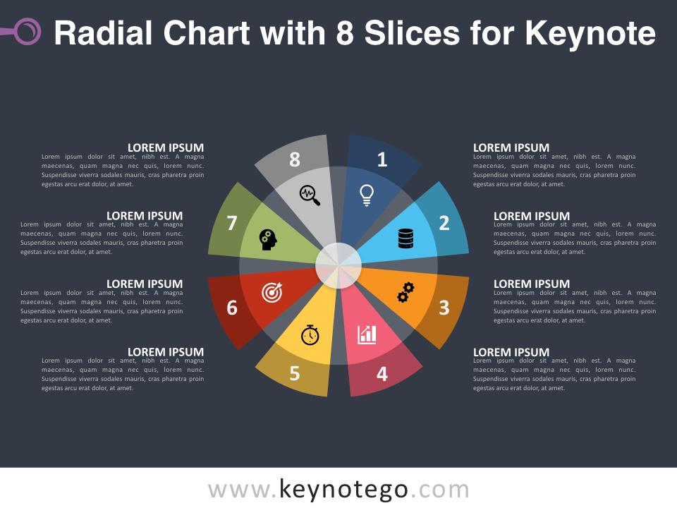 Radial Chart 8 Slices for Keynote - Dark Background