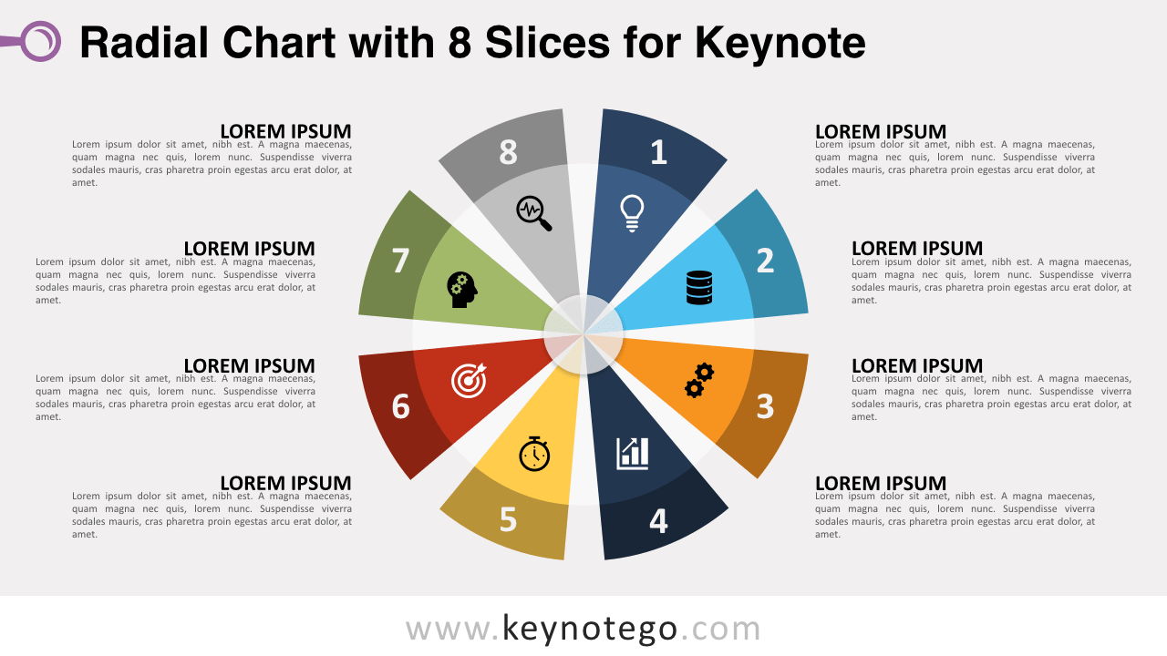 Radial Chart 8 Slices Keynote Template