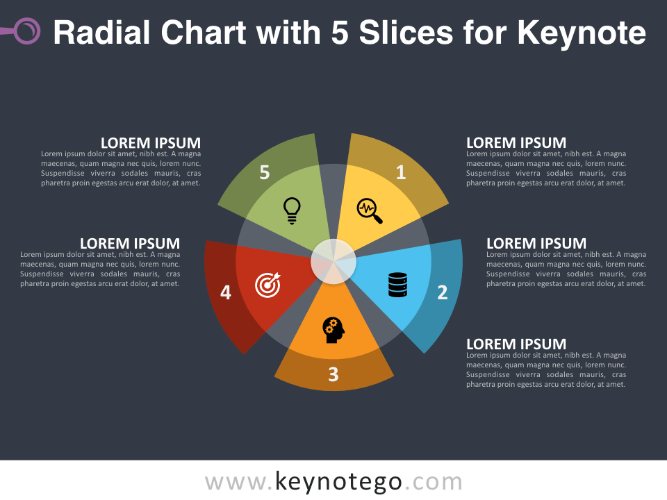Radial Chart with 5 Slices for Keynote - Dark Background