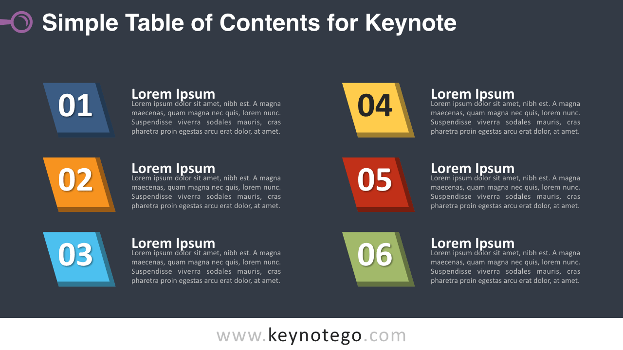 Simple Table Contents Keynote Template - Dark Background