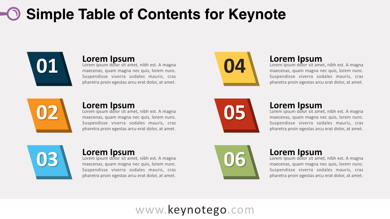 Simple Table Contents Keynote Template
