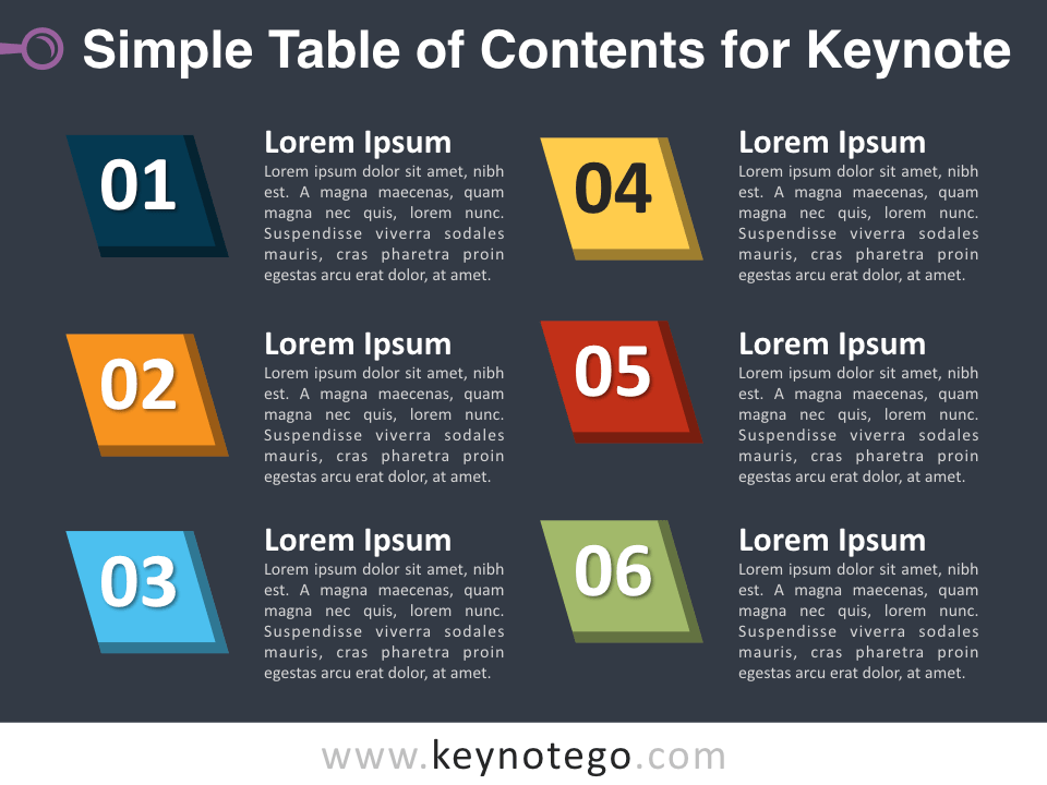 Simple Table Contents for Keynote - Dark Background