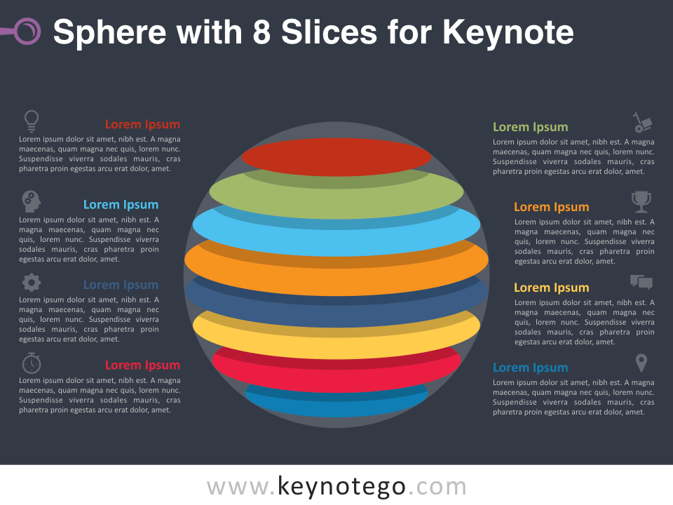 Sphere 8 Slices for Keynote - Dark Background