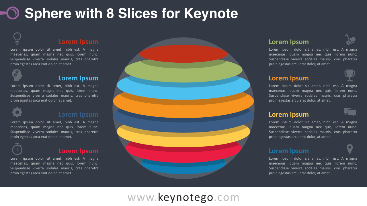 Sphere 8 Slices Keynote Template - Dark Background