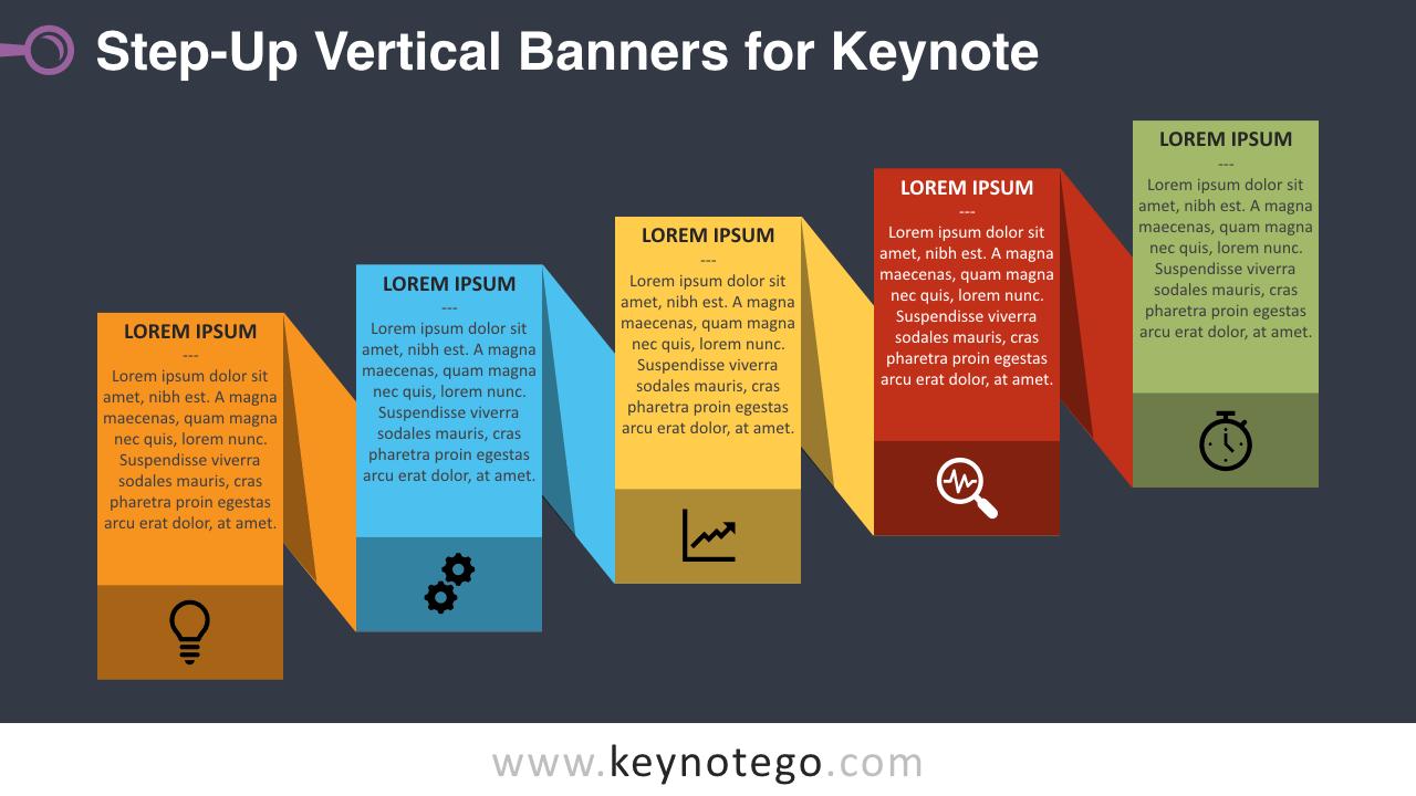 Step-Up Process Keynote Template - Dark Background