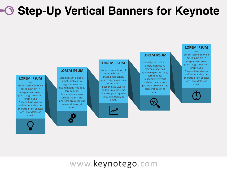 Step-Up Vertical Banners 1 Color for Keynote