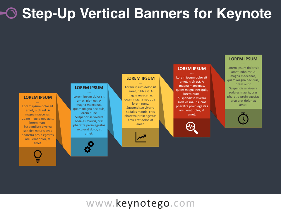 Step-Up Vertical Banners for Keynote - Dark Background