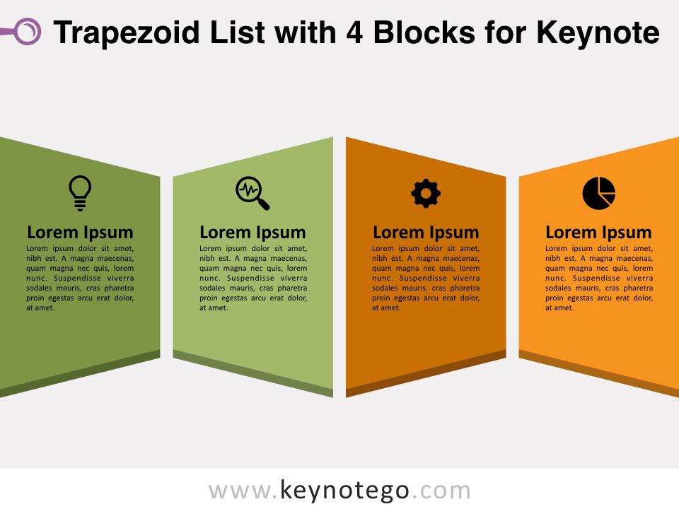 Trapezoid List 4 Blocks for Keynote