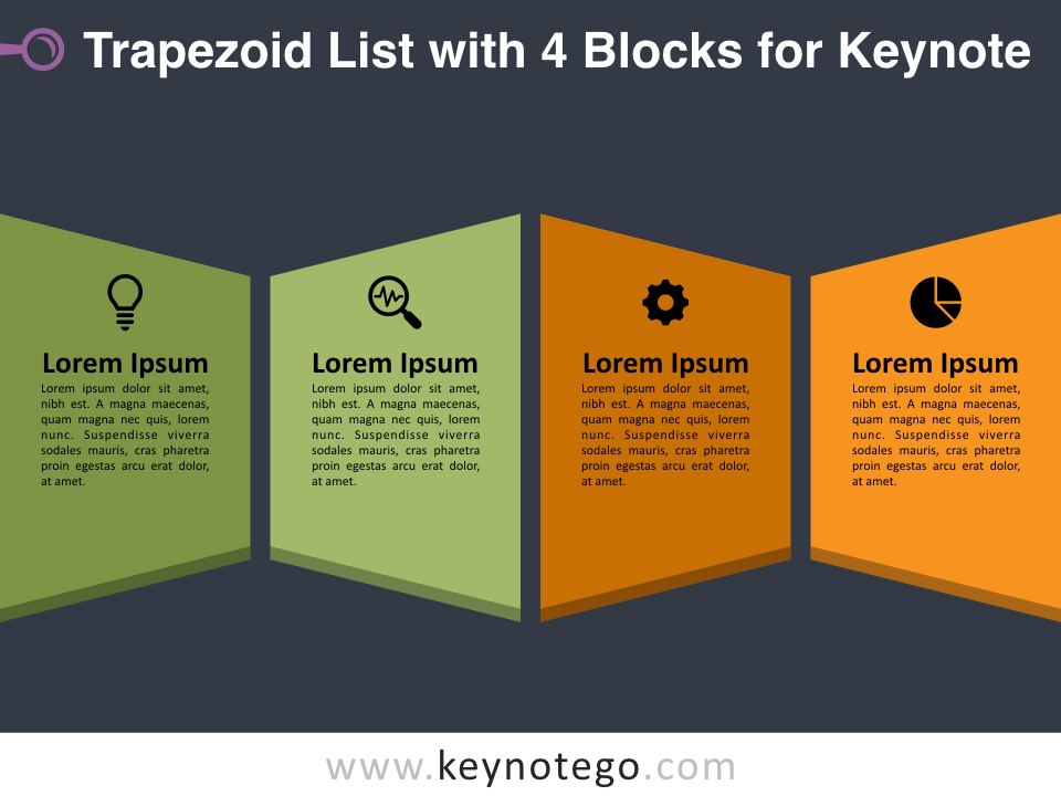 Trapezoid List 4 Blocks for Keynote - Dark Background