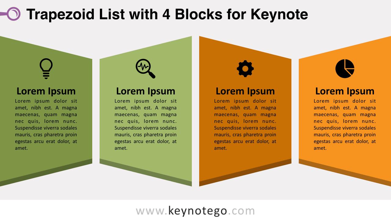 Trapezoid List 4Blocks Keynote Template
