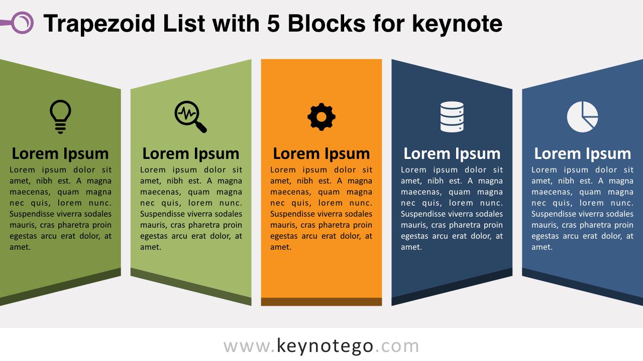 Trapezoid List 5 Blocks Keynote Template