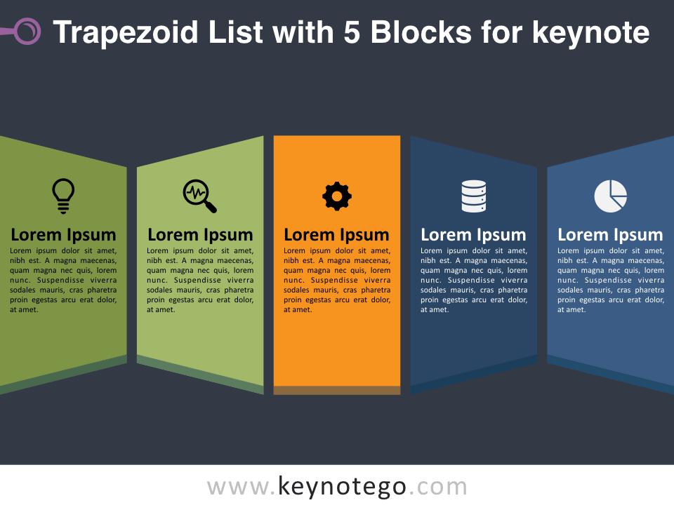 Trapezoid List 5 Blocks for Keynote - Dark Background