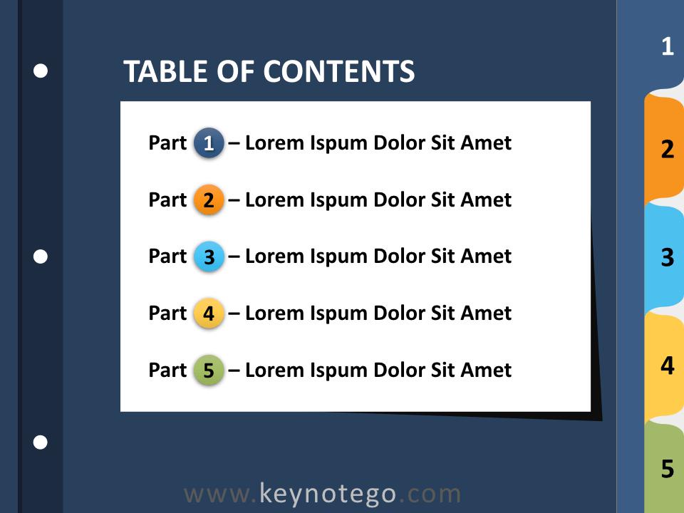 Free 5-Tab Binder Dividers Keynote - Slide 1