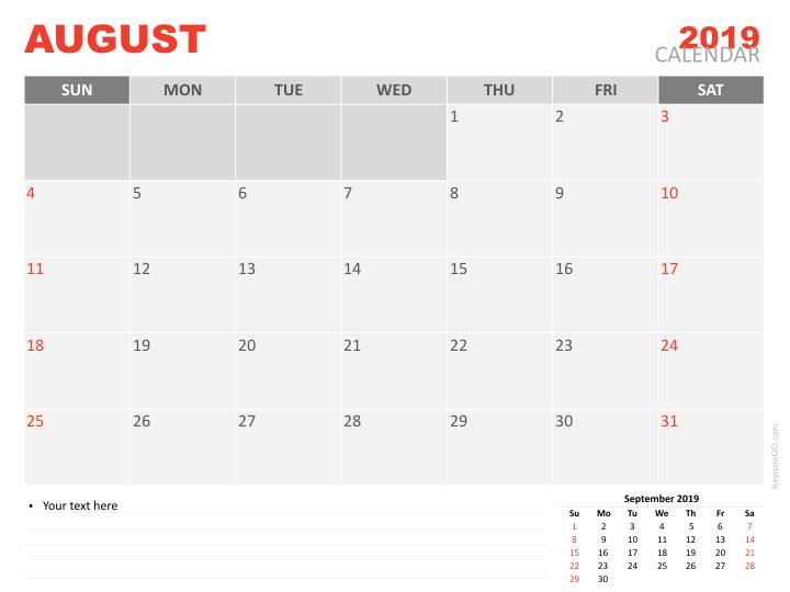 Free Calendar 2019 August For Keynote