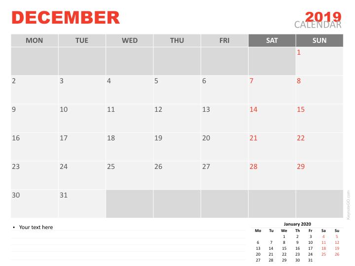 Free Calendar 2019 December for Keynote