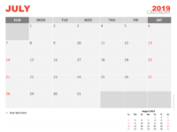 Free Calendar 2019 July For Keynote