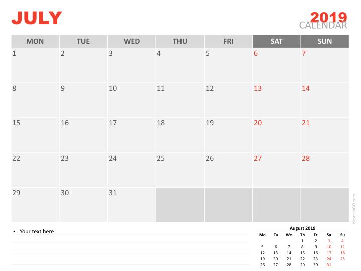 Free Calendar 2019 July Keynote
