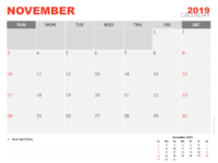 Free Calendar 2019 November For Keynote