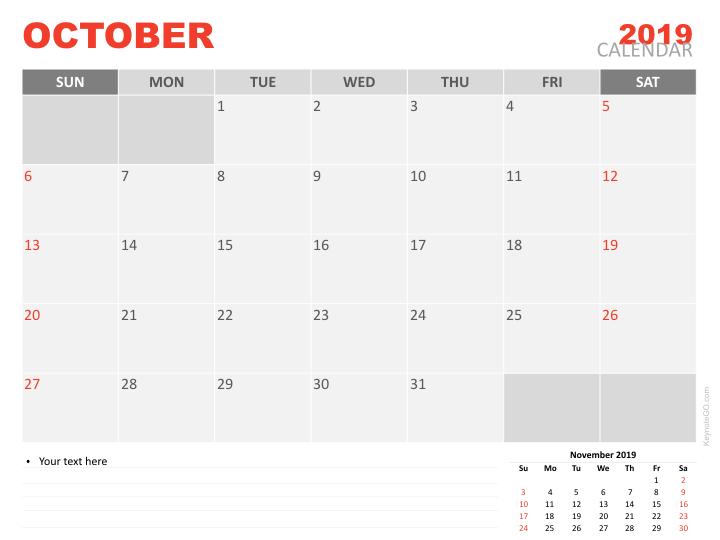 Free Calendar 2019 October For Keynote