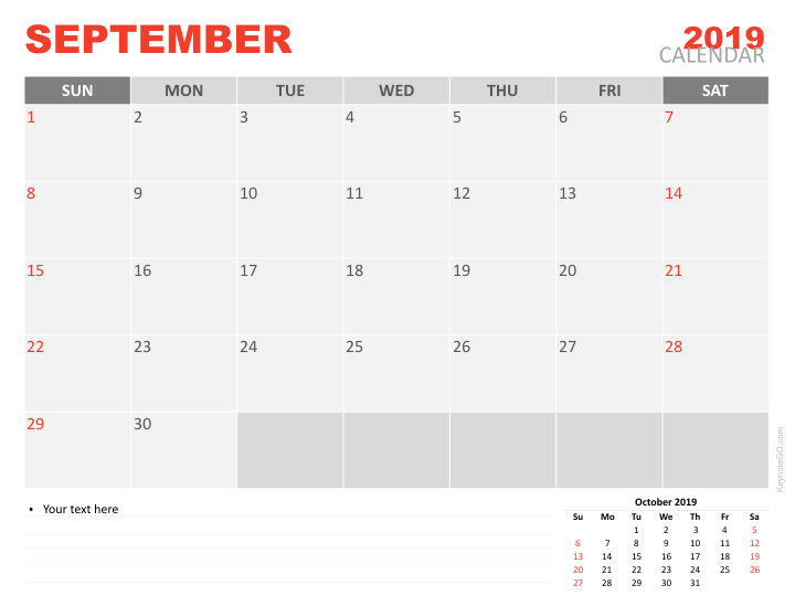 Free Calendar 2019 September For Keynote