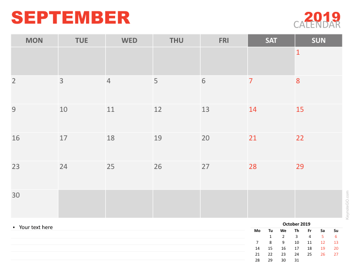September Calendar.September 2019 Calendar For Keynote Keynotego Com