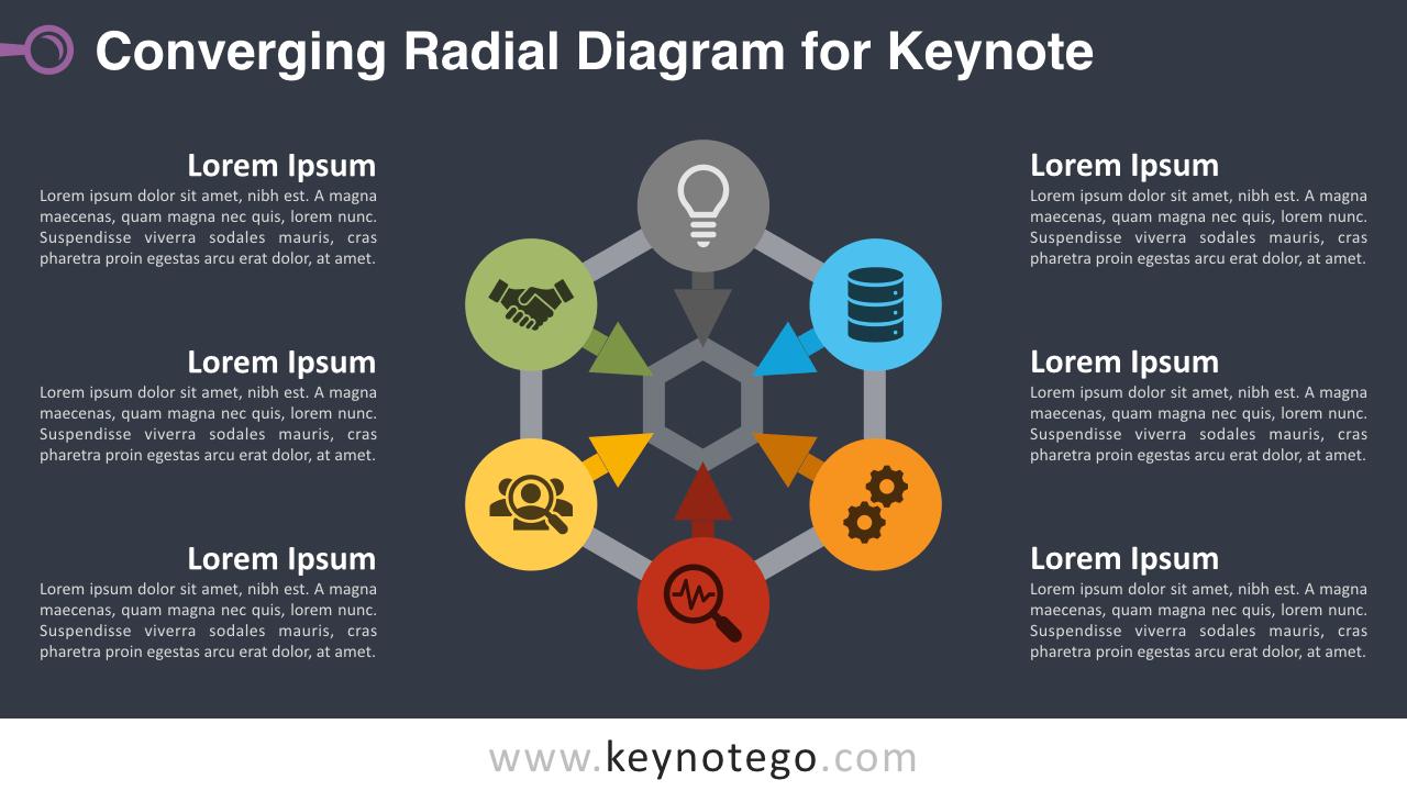 Free Converging Radial Diagram Keynote Template - Dark Background