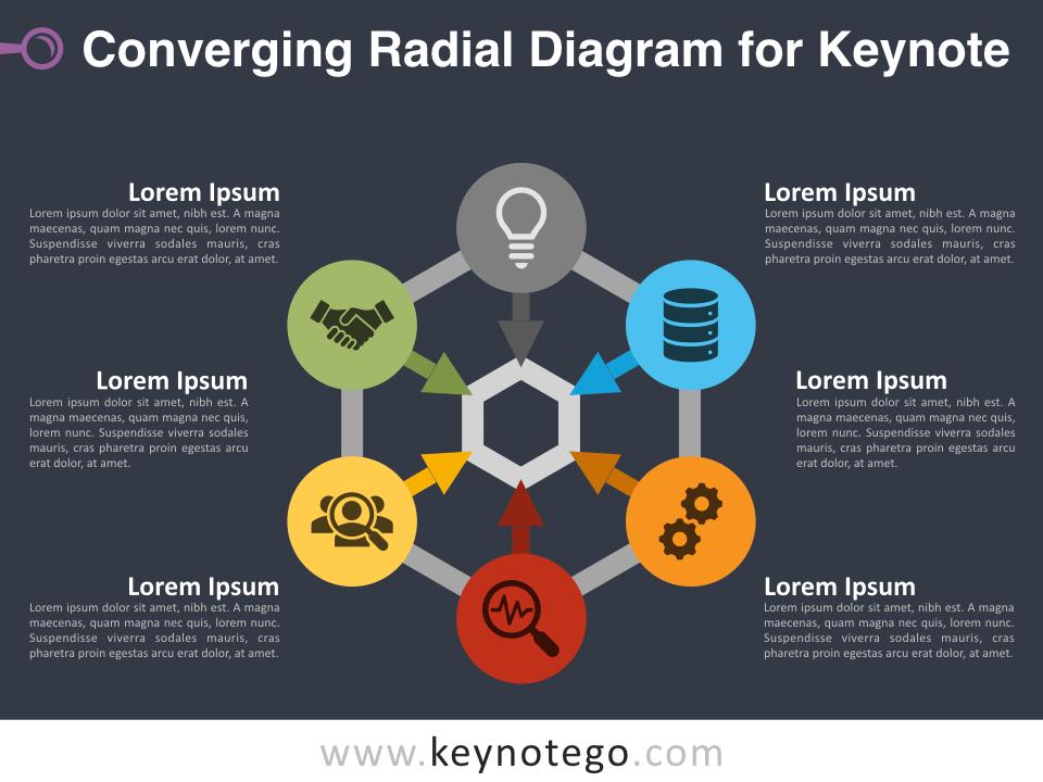 Free Converging Radial Diagram Slide Template for Keynote - Dark Background